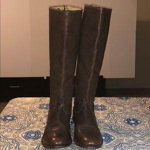 Frye Melissa Button Brown Zip Boot
